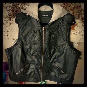 Pleather vest with hood